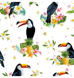 Toucan Bird Tropical Flowers Background Retro vector image
