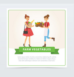 two women characters standing with fresh farm vector image