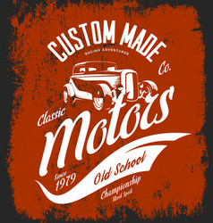 Vintage custom hot rod motors logo concept vector