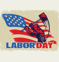 vintage style of labor day vector image