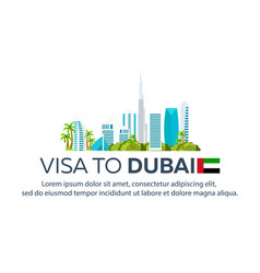 Visa to dubai travel to dubai document for vector