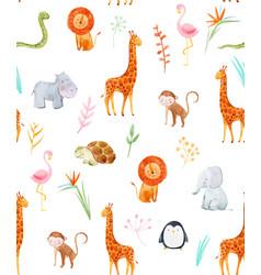 Watercolor baby pattern vector