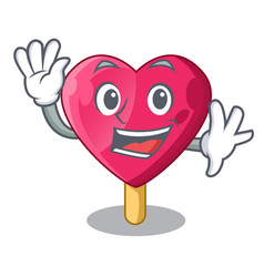 Waving heart character ice cream on candy vector
