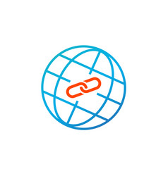 web link concept globe and link icon simple blue vector image