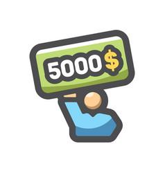 winn men lottery ticket icon cartoon vector image