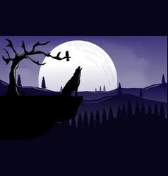 Wolf sillhouette landscape vector