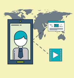 world mobile businessman video email digital vector image