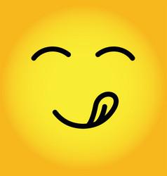 Yellow yummy smiley emoticon face emoji with vector