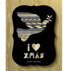 Gold Christmas Holiday design of modern dove bird vector image
