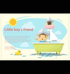 Little boy ship captain and friend background vector