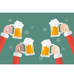 Santa clinking beer glasses vector image vector image