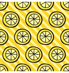 Seamless pattern with lemon on stripped background vector image vector image
