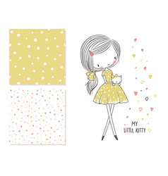 fashion and 2 seamless patterns vector image vector image