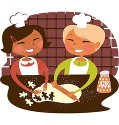 Kids baking cookies vector image