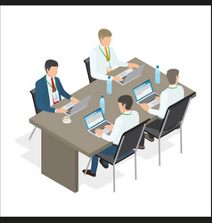 office employees work at laptops vector image