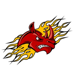 rhino head with fire flames for tattoo design vector image