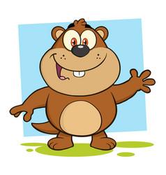 smiling marmot cartoon character waving vector image