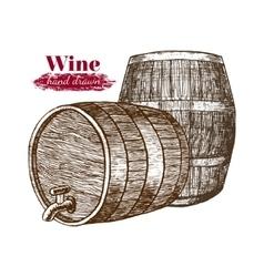 Wine Barrels Hand Draw Sketch vector image vector image