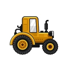 Yellow farm tractor icon on white background vector