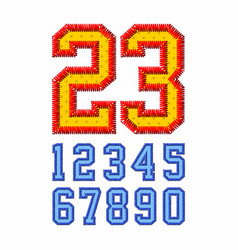 embroidered font numbers vector image vector image