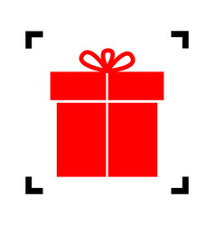 gift sign red icon inside black focus vector image vector image