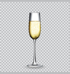 naturalistic glass with festive champagne on vector image vector image