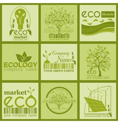 Set of ecology environment and recycling logos vector image