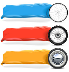 Wheels with Banner Set 2 vector image vector image