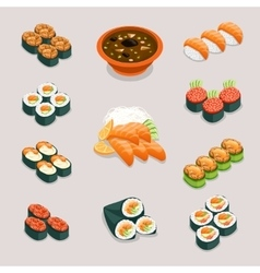 Asia food icons Rolls sushi miso soup and vector image