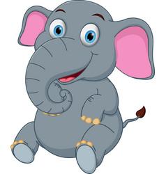 happy elephant cartoon vector image