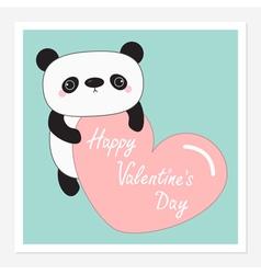Kawaii panda baby bear happy valentines day vector