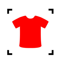 t-shirt sign red icon inside black focus vector image