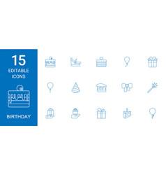 15 birthday icons vector