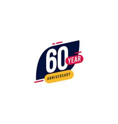 60 years anniversary blue yellow template design vector
