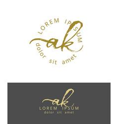 A k initials monogram logo design dry brush vector