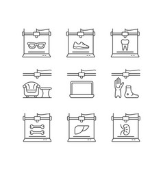 Additive manufacturing linear icons set vector