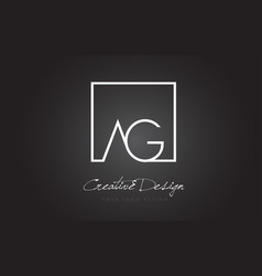 Ag square frame letter logo design with black and vector