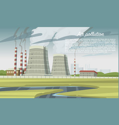 air pollution smog chimney coal industry factory vector image