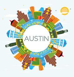 Austin texas city skyline with color buildings vector