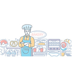 bakery - modern line design style colorful vector image