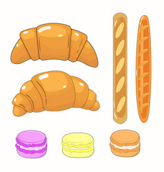 beautiful tasty set with french pastries vector image