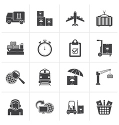 Black Cargo shipping and logistic icons vector