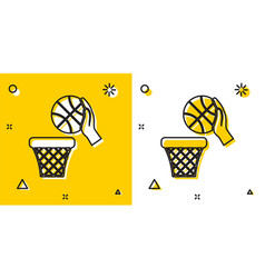 Black hand with basketball ball and basket icon vector