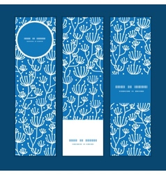 Blue white lineart plants vertical banners vector