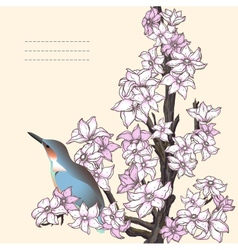 Branch of hand drawn cherry blossom with the bird vector image
