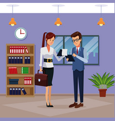 Business people in office cartoon vector
