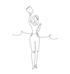 businesswoman - one line design style vector image