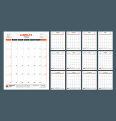 Calendar for 2020 year planner stationery design vector