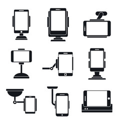 Car mobile holder icons set simple style vector