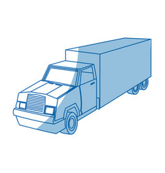 Cargo delivery truck with container shipping vector